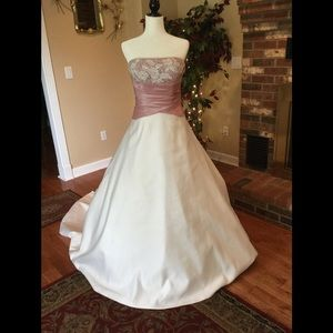 Ivory/pink wedding gown